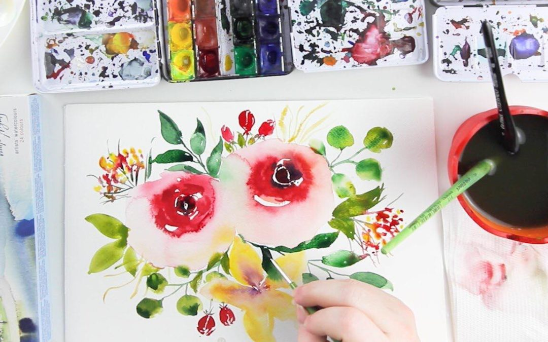 Légies akvarell virágok kompozíciókban