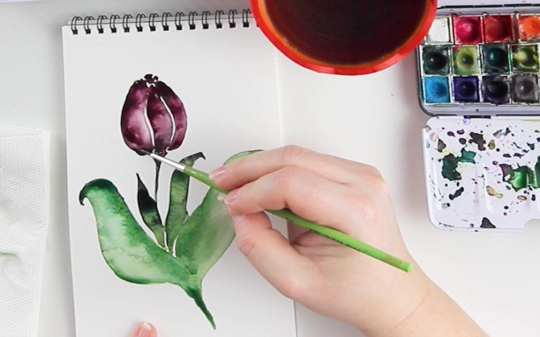 Fess légies akvarell virágokat